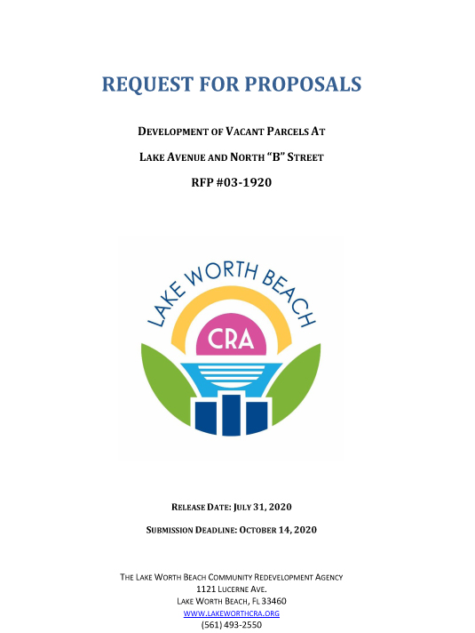 Image of the front cover of the RFP document
