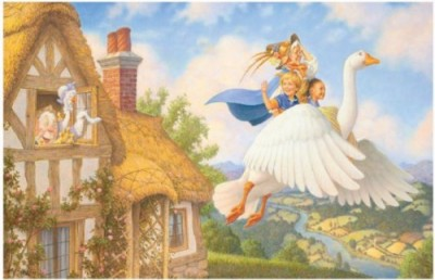 Illustration of children flying on the back of a giant goose.