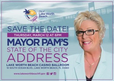 Mayor's State of the City flyer with photo of Mayor Pam.