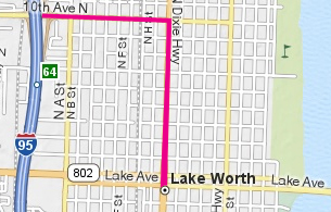 Graphic map to downtown Lake Worth from I-95 north