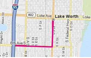 Graphic map to downtown Lake Worth from I-95 south